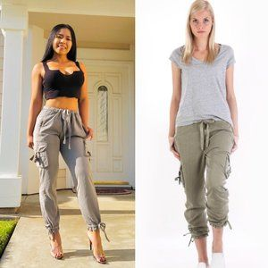 Anthropologie Marrakech  linen utility cargo pants
